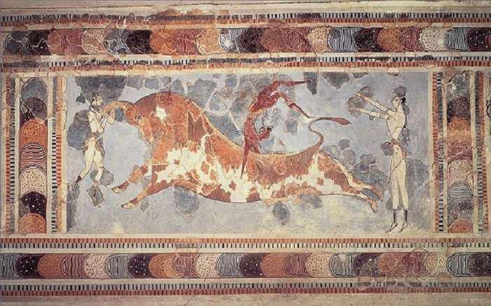 Ταυροκαθάψια (τοιχογραφία - Μέση Μινωική ΙΙΙ - Ύστερη Μινωική ΙΒ περίοδος (17ος-15ος αιώνας π.κ.χ ), Κνωσός